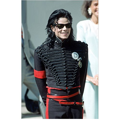 Michael Jackson 8x10 Photo Black Jacket & Pants w/Red Accents Smiling Sunglasses Hands Behind Back - Hands Sunglasses