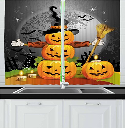 Halloween Kitchen Curtains by Ambesonne, Cute Pumpkins Funny Composition Traditional Celebration Witches Hat Broomstick, Window Drapes 2 Panel Set for Kitchen Cafe, 55 W X 39 L Inches, Multicolor