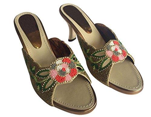 Schritt N Style Brautjungfern Frauen High Heel flach Hochzeit Schuhe jooti Ethnic Khussa Juti