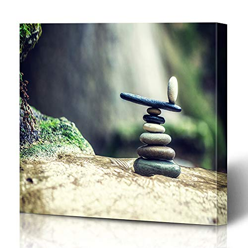 Ahawoso Canvas Prints Wall Art 16x16 Inches Lefkada Green Stone Balanced Rock Zen Stack Front Waterfall Nature Balance Parks Pebble Peace Pile Design Stacked Decor for Living Room Office Bedroom