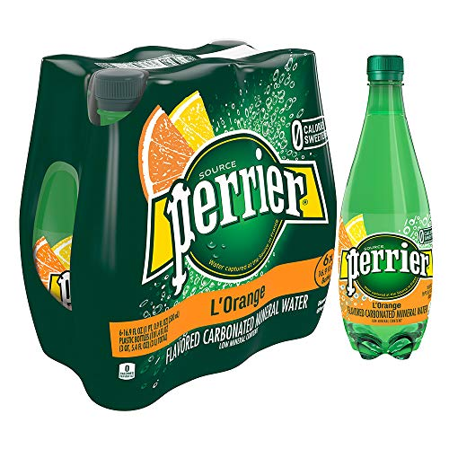 Perrier L'Orange Flavored Carbonated Mineral Water (Lemon Orange Flavor), 16.9 fl oz. Plastic Bottles (6 Count)