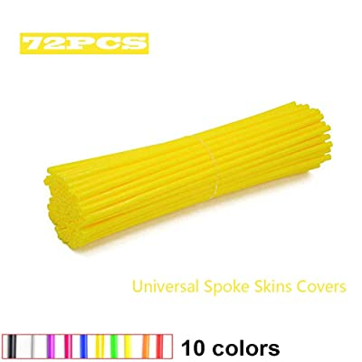 JOYON 72 Pcs Universal Spoke Skins Covers Coats for Motorcycle Dirt Bike Kawasaki Honda Yamaha BMW Suzuki(Yellow): Automotive