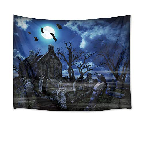 HVEST Halloween Tapestry Wall Hanging Full Moon Tapestry Cemetery in Field with Bats Flying in Sky Wall Blankets for Bedroom Living Room Dorm Decor,60Wx40H inches
