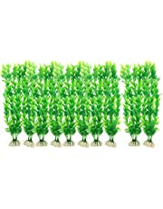 "Saim 10 Pcs Aquarium Artificial Plastic Plants Set Decor Fish Tank Ornament Green 12"" Long"