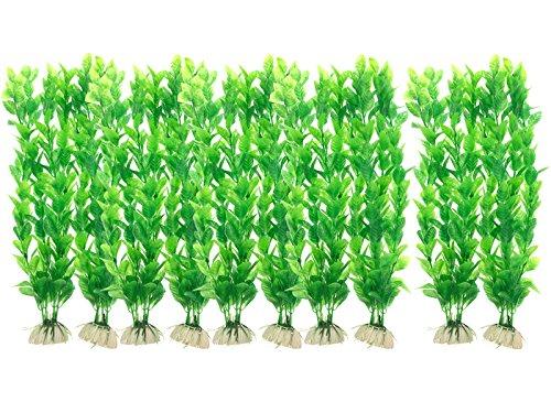 Saim 10 Pcs Aquarium Artificial Plastic Plants Set Decor Fish Tank Ornament Green 12