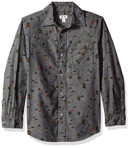 Gymboree Boys' Big Long Sleeve Pocket Button Up Shirt, Grey/Orange Triangles, S