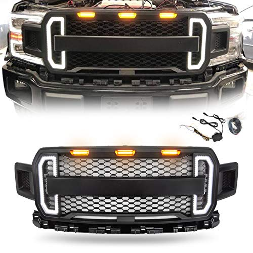 Modifying Front Grille for Ford F-150 2018 2019 F150 Style Grill Kits with 3 Amber LED Lights and Switchback LED Turn Signal