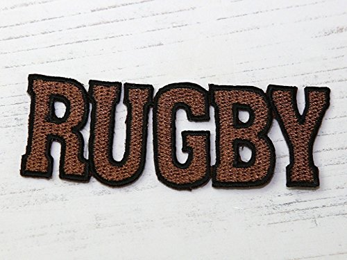 Rugby Embroidered Iron On Motif Applique Brown - ()