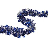 F.C. Young Wintry Holographic Blue and Silver Boa Christmas Tinsel Garland, 12'