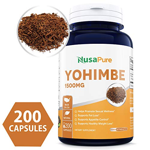 100% Pure Yohimbe Bark 1500mg 200caps (Non-GMO & Gluten Free) Natural Stamina, Endurance and Strength Booster - Fortifies Metabolism - Promotes Healthy Weight Loss - 100% Money Back Guarantee! ()