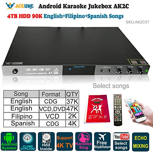 (Android Karaoke Machine,4TB HDD 90K English Filipino Spanish Songs Player/Jukebox,Microphone Port Built,Watch TV,KODI, YouTube songs sing)