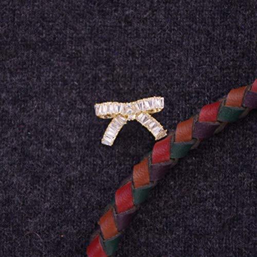 18k Brooch Cameo (POLPEP Mini Bow Brooch Lapel pin Badge Buckle Zircon Collar Blouse Anti Emptied Jewelry Korea (18k White Gold Zircon)