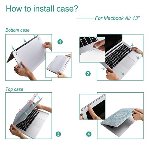 iCasso Macbook Air 13 inch Rubber Coated Soft Touch Hard Shell Protective Case Cover For Macbook Air 13 Inch Model A1369/A1466 With Keyboard Cover (Blue&White Medallion) by iCasso (Image #6)