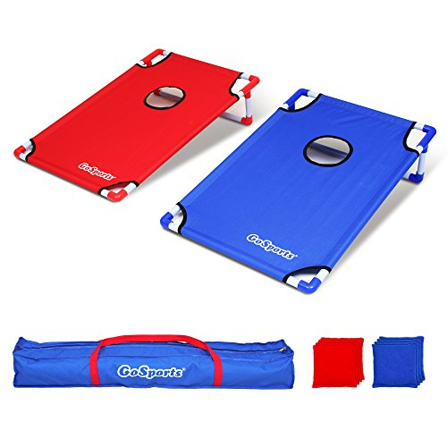 (GoSports Portable PVC Framed Cornhole Toss Game Set with 8 Bean Bags and Travel Carrying Case - Choose American Flag Design, Red & Blue or Football)