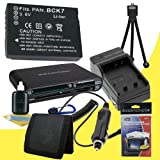 Battery Kit for Panasonic Lumix DMC-FP5, DMC-FH27, DMC-FH25, DMC-FH5, DMC-FH2, DMC-FP7, DMC-S1, DMC-S3, DMC-FX78, DMC-FX90 Includes DMW-BCK7 Replacement Lithium Ion Battery w/Charger + Memory Card Reader/Wallet + Deluxe Starter Kit DavisMAX Accessory Bund