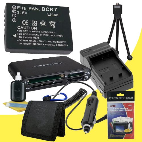 Battery Kit for Panasonic Lumix DMC-FP5, DMC-FH27, DMC-FH25, DMC-FH5, DMC-FH2, DMC-FP7, DMC-S1, DMC-S3, DMC-FX78, DMC-FX90 Includes DMW-BCK7 Replacement Lithium Ion Battery w/Charger + Memory Card Reader/Wallet + Deluxe Starter Kit DavisMAX Accessory Bund by DavisMAX