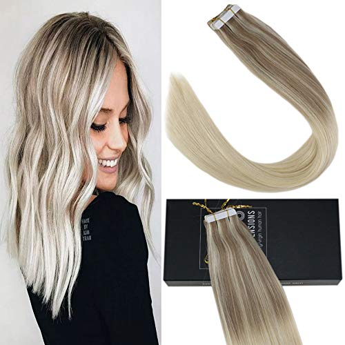 Sunny 18inch Tape Hair Extensions Human Hair Remy Balayage Color #Ash Blonde Highlighted Human Hair Tape in Extensions 50g 20pcs