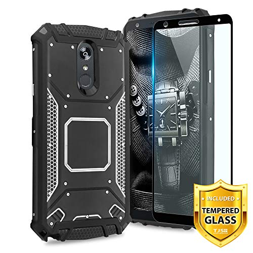 TJS LG Stylo 4 2018/LG Q Stylus Case, With [Full Coverage Tempered Glass Screen Protector] Aluminum Metal premium protection Shockproof Military Cover with Built-in Metal Plate Back ()