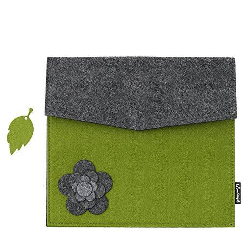 Basico Premium Felt Sleeve Case for iPad 2 / iPad 3 / iPad 4 (ipad Case(Flower)-Green)