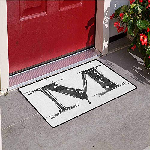 GloriaJohnson Letter M Commercial Grade Entrance mat Alphabet Symbol in Sketchy Stencil Art Style Hand Drawn Effect Funky Calligraphy for entrances garages patios W29.5 x L39.4 Inch Black White