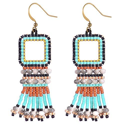 BeadChica Handmade Boho Dangle Earrings for Women Beadwork Jewelry (Color 1)