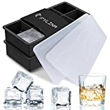 FYLINA Ice Cube Trays, 2 Pack Silicone Large Ice Cube Trays with Lids, FDA Approved Ice Cube Moulds & 8 Cavity Ice Maker Tray for Whiskey Body Food Cocktail Drinks