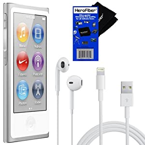 Apple iPod nano 16GB - Silver (7th Generation) with EarPods & Lightning to USB Cable + Herofiber Ultra Gentle Cleaning Cloth