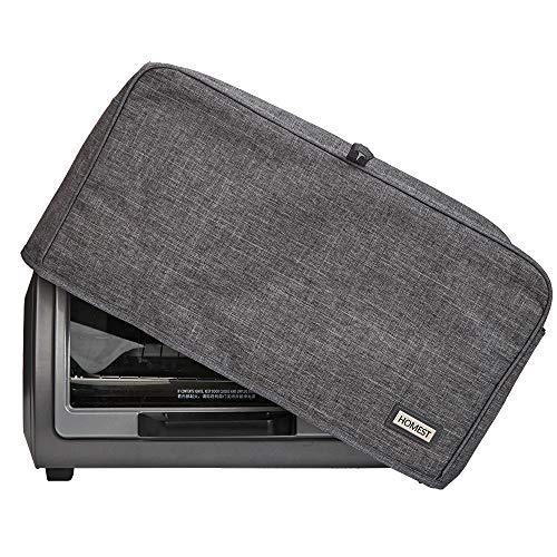 HOMEST Toaster Oven Dust Cover with Accessory Pockets Compatible with Hamilton Beach & BLACK+DECKER 4-6 Slice of Toaster Oven, Grey (Patent Pending)