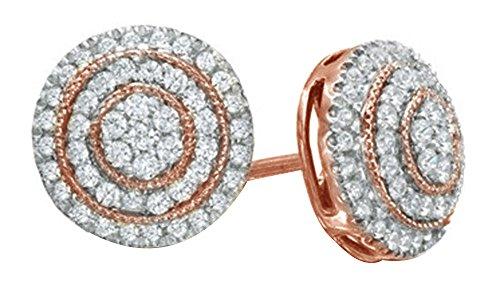 (1/2 Carat Natural Diamond Layered Circle Stud Earrings 10K Solid Rose Gold)