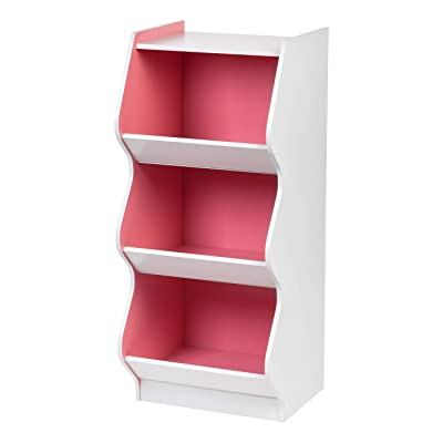 IRIS 3 Tier Curved Edge Storage Shelf, White and Pink: Kitchen & Dining