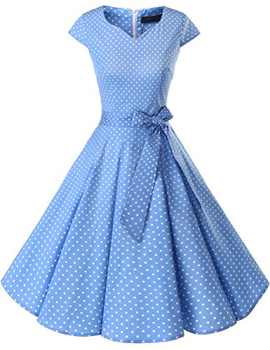 0s Solid Color Cocktail Dresses Vintage Swing Dress with Cap-Sleeves Blue Small White Dot S ()