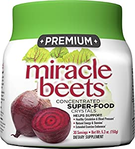 Miracle Beets - Beet Juice Powder Concentrate Supplement with Beet Crystals - A Nitric Oxide Powder Drink to Support Circulation, Natural Energy, and Blood Pressure