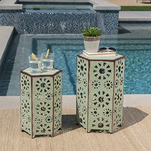 GDFStudio Elliot Outdoor 12 Inch and 14 Inch Sunburst Iron Side Table Set Crackle Green