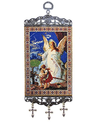 Religious Gifts Guardian Angel And Children Crossing Bridge Tapestry Icon Banner 9 3/4 Inch