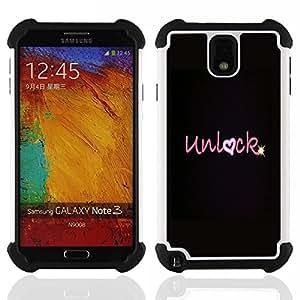 """SAMSUNG Galaxy Note 3 III / N9000 / N9005 - 3 en 1 impreso colorido de Altas Prestaciones PC Funda chaqueta Negro cubierta gel silicona suave (Corazón del amor de San Valentín Negro Estrella"""")"""