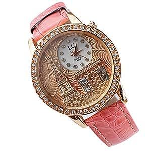 Pooqdo (TM)Fashion Beautiful Luxury Crystal Eiffel Tower Leather Watch Ladies Women Watches (Pink)