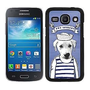 Funda carcasa para Samsung Galaxy Core Plus diseño dibujo perro hey sailor marinero borde negro