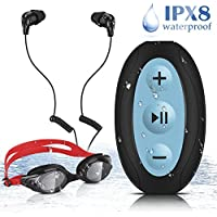 AGPTEK 8GB Waterproof MP3 Player with Shuffle, IPX8 Underwater Headphones for Swimming Surfing, S66(Black)