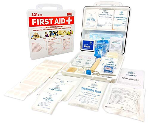 M2 Basics 321 Piece Premium First Aid Kit w/Wall Mount Hard Case | Free First Aid Guide | Emergency Medical Supply | Home, Office, Outdoors, Car, Camping, Travel, Survival, Workplace by M2 BASICS (Image #1)