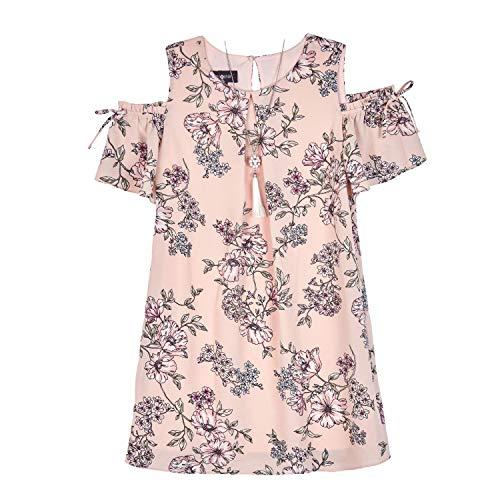 (Amy Byer Girls' Big Cold Shouldeer A-line Dress, Blush Scattered Posy Garden, 10)