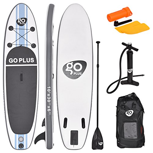 Goplus Inflatable Stand up Paddle Board Surfboard SUP Board with Adjustable Paddle Carry Bag Manual Pump Repair Kit Removable Fin for All Skill Levels, 6 Thick (White, 10)