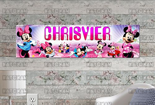 Customized Name Painting Minnie Mouse Poster With Your Name On It Personalized Banner]()