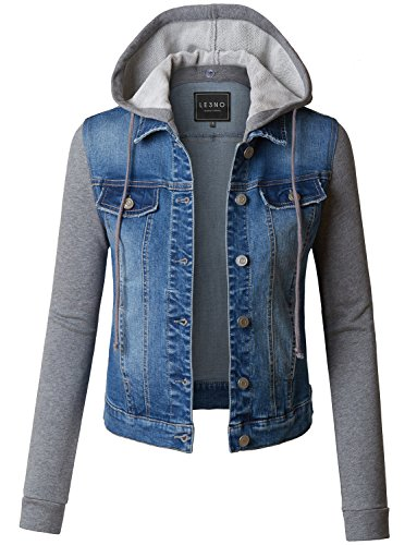 LE3NO Womens Distressed Long Sleeve Cropped Denim Jacket With Detachable Fleece Hoodie