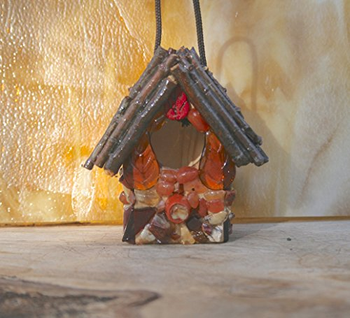 - Small Stone Birdhouse Twig Roof Red Agates & Brown Jasper Stones