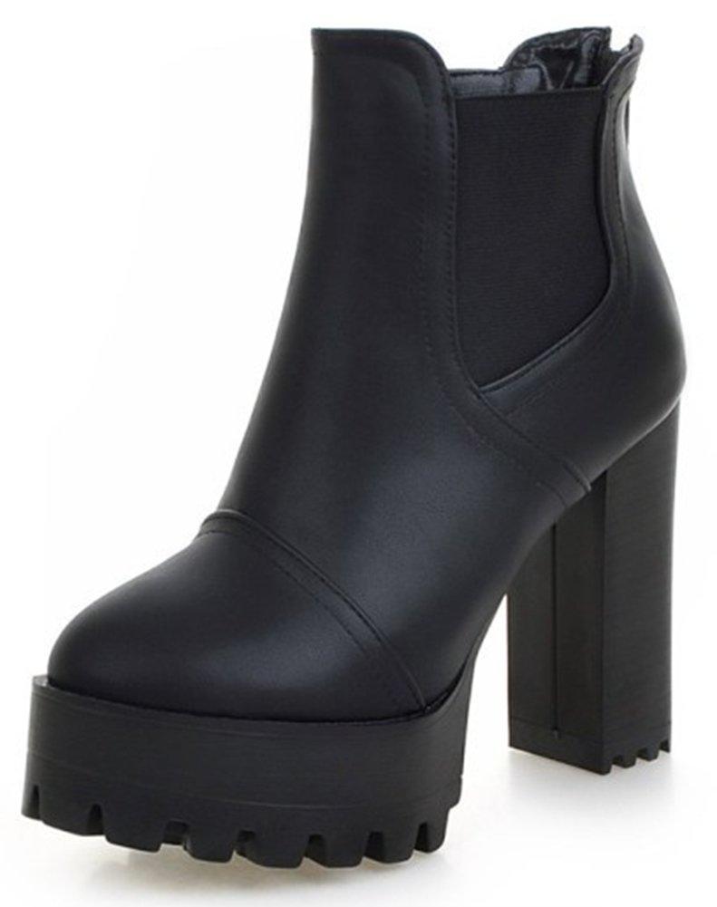 Summerwhisper Women's Comfy Elastic Almond Toe Platform Short Chelsea Boots Block High Heel Slip on Ankle Booties Black 8 B(M) US
