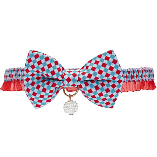 Blueberry Pet 18 Designs Two Tone Checker Breakaway Bowtie Cat Collar Lace Choker Necklace with Handmade Bow Tie and Pearl Charm, Safety Elastic Stretch Collar for Cats, Neck 8.5