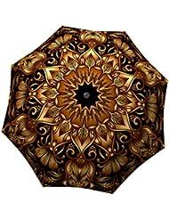 LA BELLA UMBRELLA Gold Floral Designer Unique Travel Art Umbrella in Stylish Gift Box – Automatic/Manual/Stick