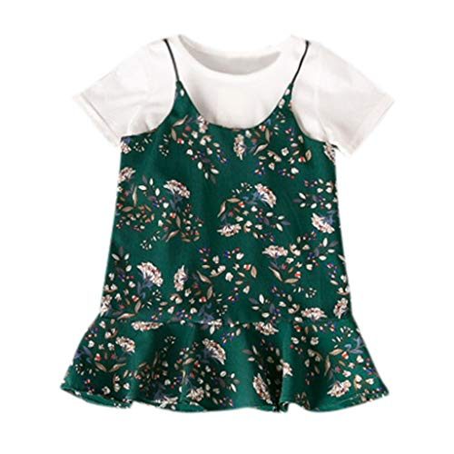 Rakkiss Girls Cute Shirt Overalls Dress Floral Print Outfits Set Solid Tops Sling Vest -