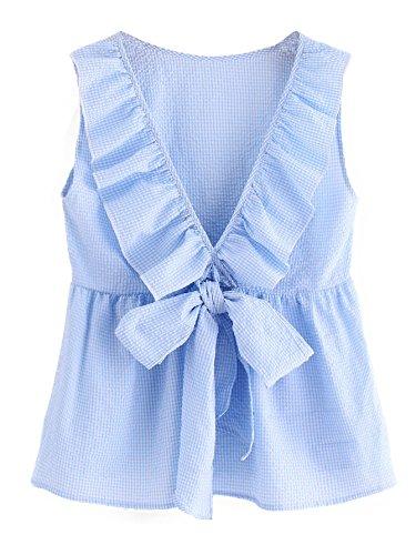 Milumia Women's Deep V Neck Sleeveless Bowknot Plaid Blouse Shell Top Medium (Sleeveless V-neck Shell)