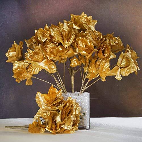 - Efavormart 84 Artificial Open Roses for DIY Wedding Bouquets Centerpieces Arrangements Party Home Wholesale Supplies - Gold